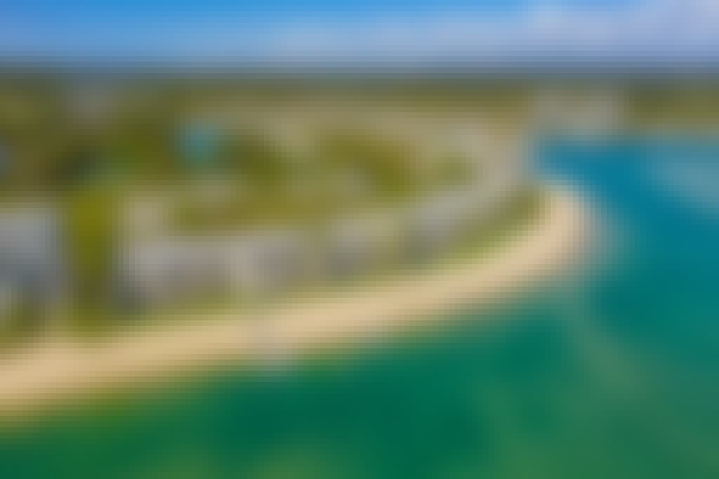 Noosa harbour resort aerial from river